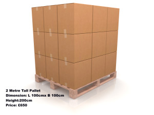 A full pallet of cardboard boxes. Clipping path supplied with file.
